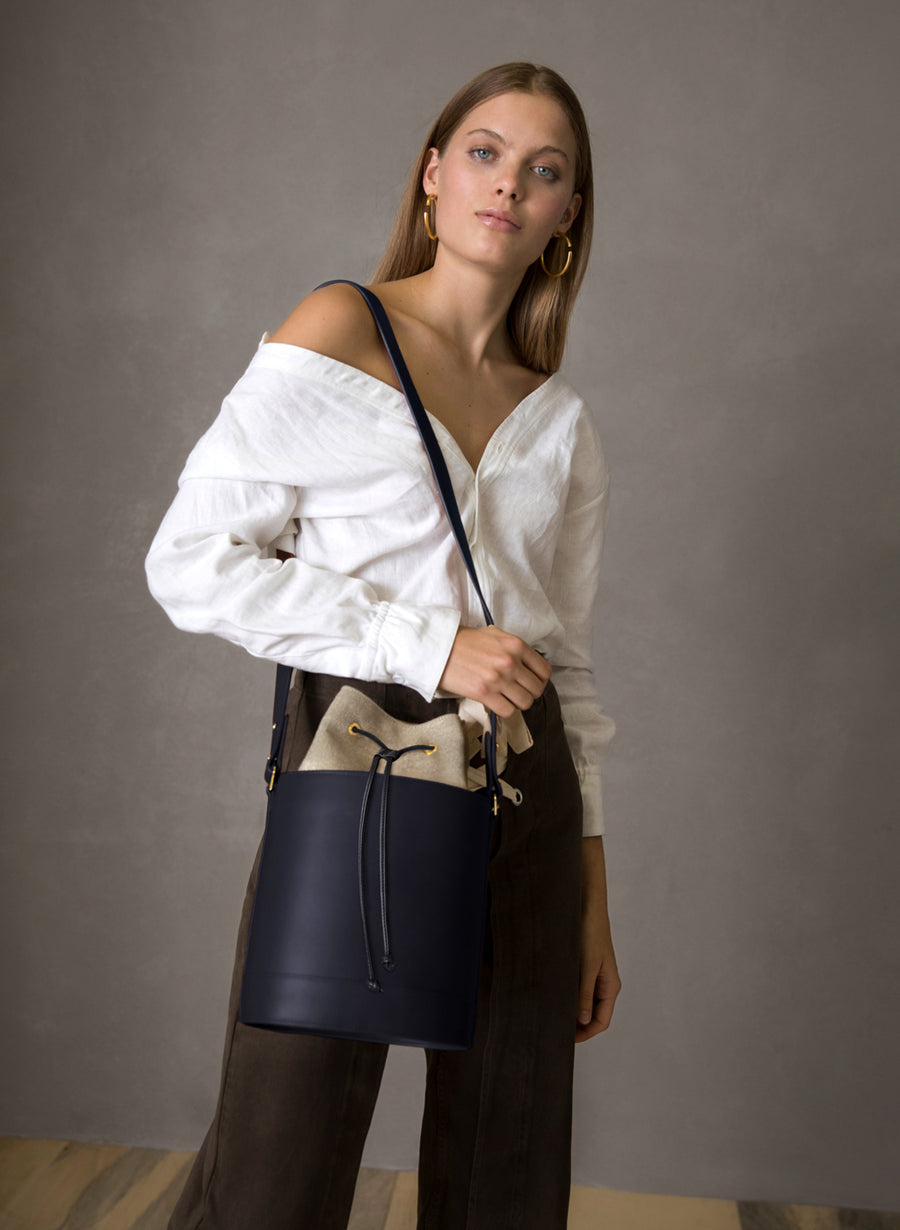 Bucket Bag in Navy and Linen