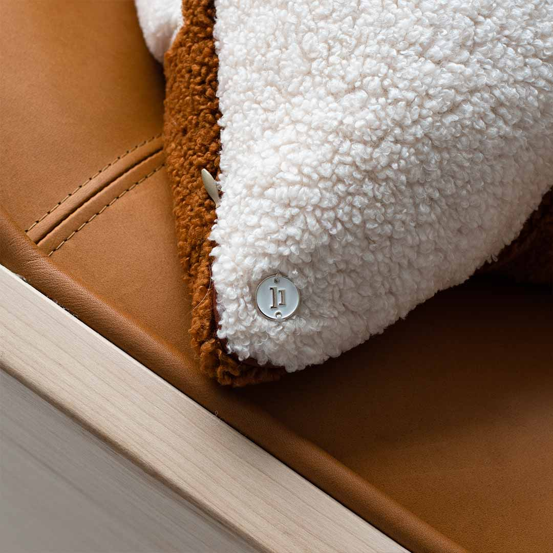 Splice Terracotta / Warm White & Beige - Back | shearling-european-pillowcase-terracotta-splice