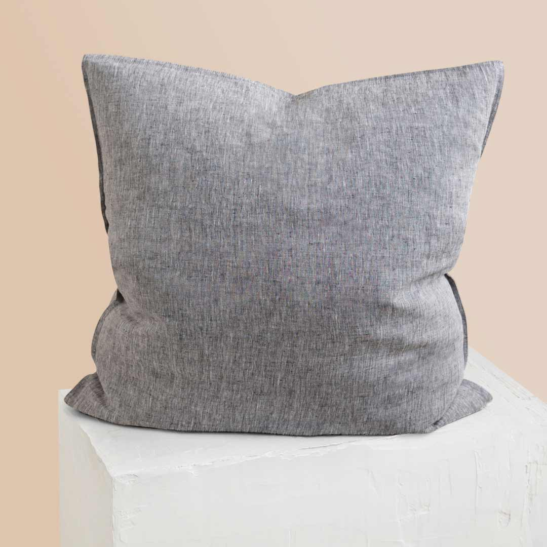 Chambray Linen European Pillowcase - Ash