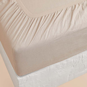 Eve Linen Fitted Sheet - Beige