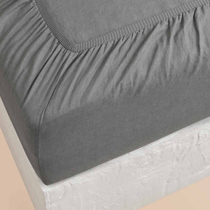 Eve Linen Fitted Sheet - Charcoal