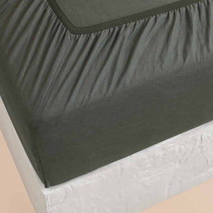 Eve Linen Fitted Sheet - Hunter Green