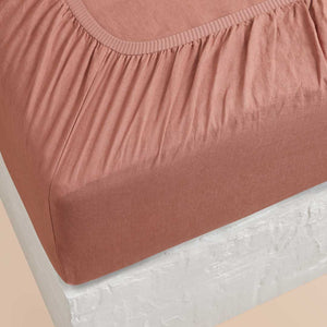 Eve Linen Fitted Sheet - Rust