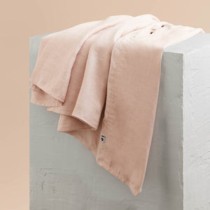 Eve Linen Flat Sheet - Blush