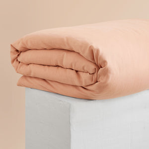 Eve Linen Quilt Cover - Papaya