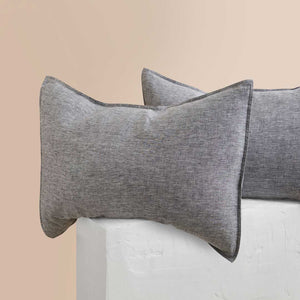 Chambray Linen Pillowcases - Ash