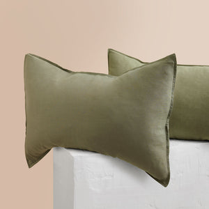 Eve Linen Pillowcases - Moss