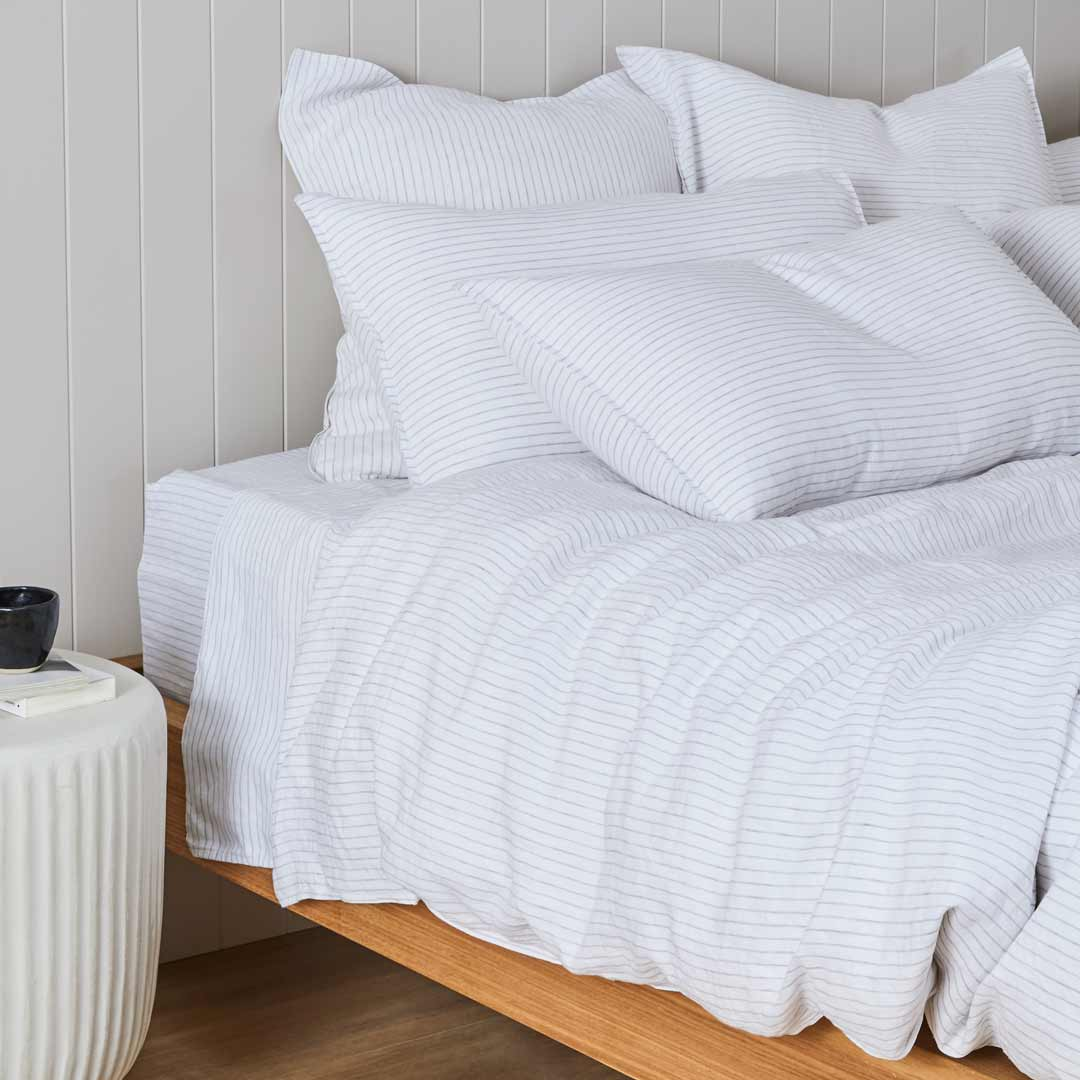 Striped Linen European Pillowcase - Madrid