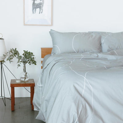 MALLORY Printed Quilt Cover - Dove Grey