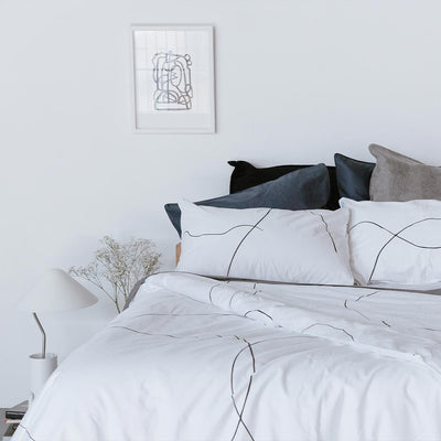 MALLORY Printed Pillowcase Pair - White