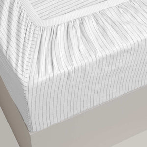 Striped Linen Fitted Sheet - Madrid