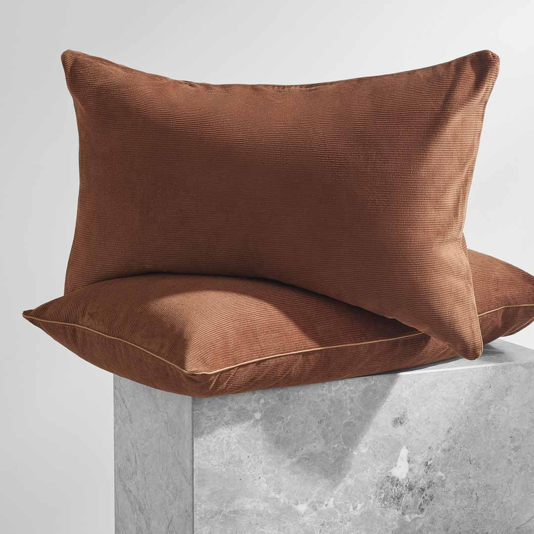 Darcy Corduroy Pillowcases - Terracotta