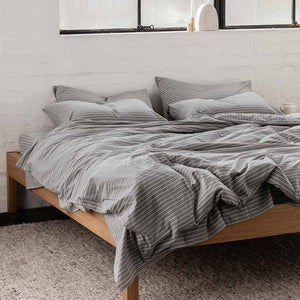Leo Washed Cotton Quilt Cover - Charcoal Wide Stripe