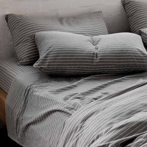 Leo Washed Cotton Pillowcases - Charcoal Wide Stripe