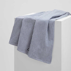 Leo Washed Cotton Flat Sheet - Midnight Stripe