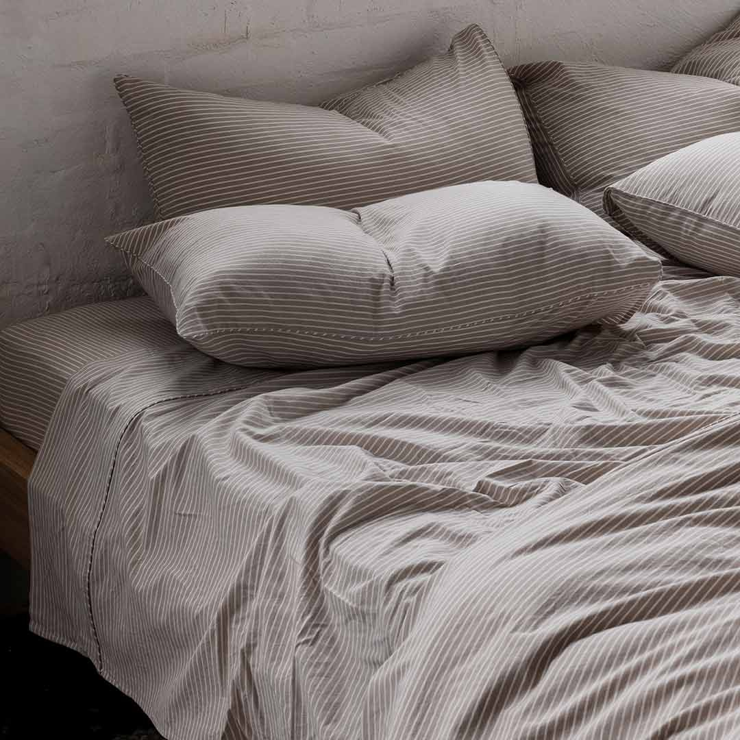 Leo Washed Cotton Pillowcases - Beige Stripe