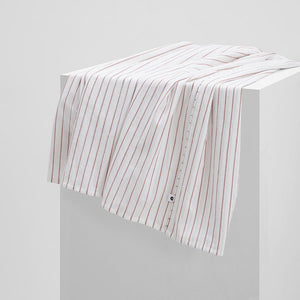 Leo Washed Cotton Flat Sheet - Rust Stripe