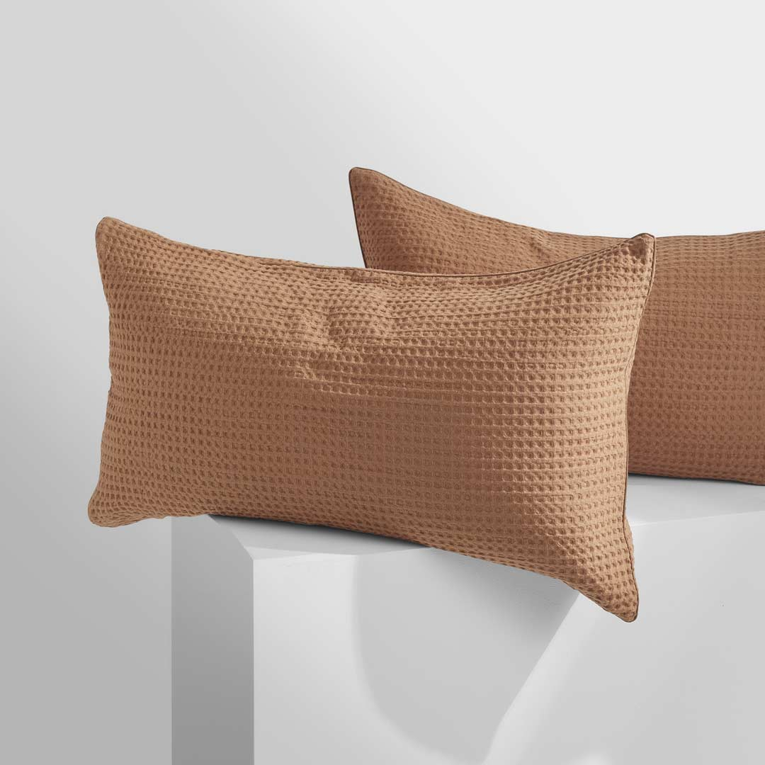 TULLY Waffle Pillowcases - Terracotta