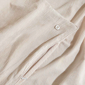 Leo Washed Cotton Quilt Cover - Mocha Stripe
