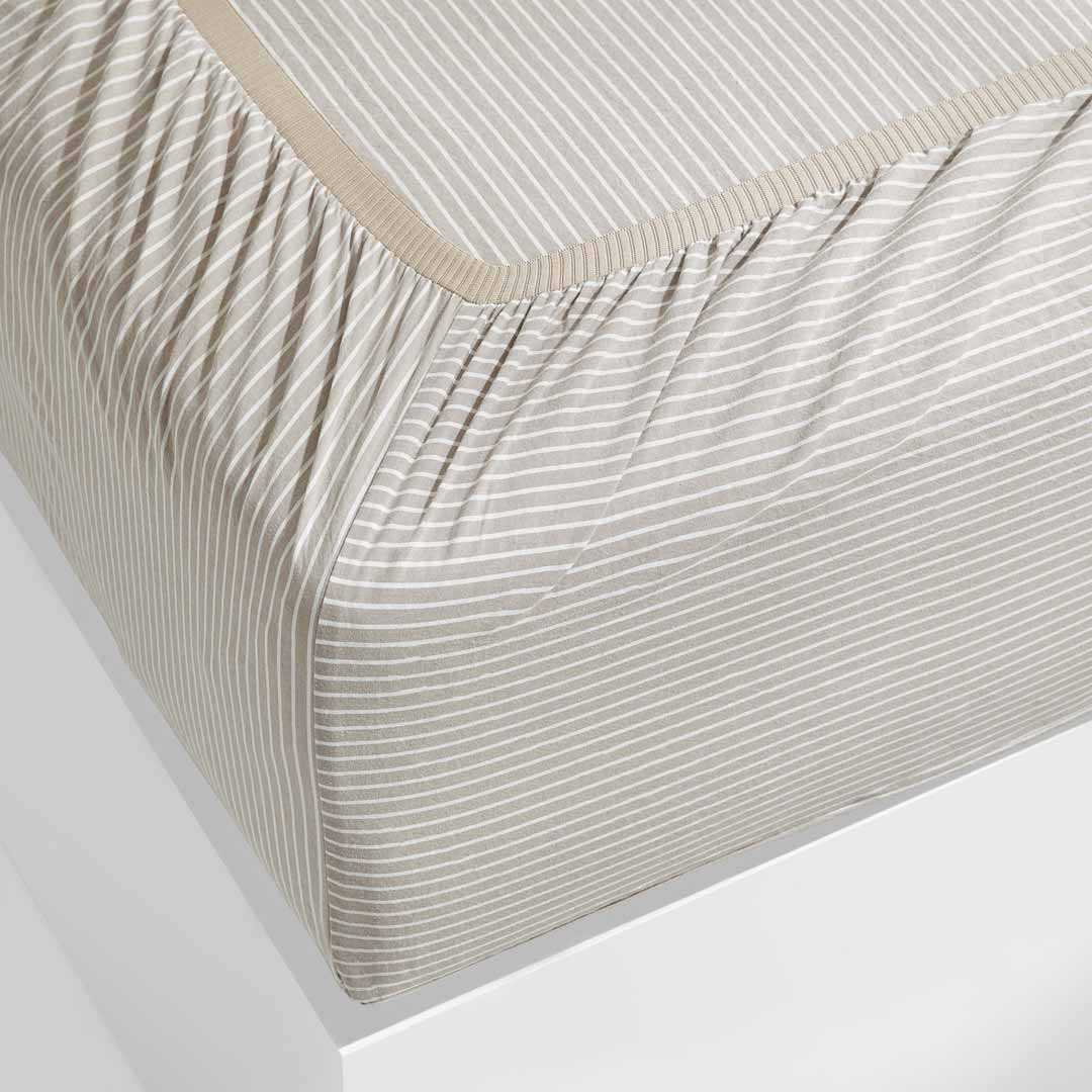 Leo Washed Cotton Fitted Sheet - Nude Stripe