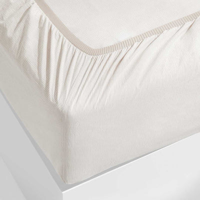 LEO Washed Cotton Fitted Sheet - Mocha Stripe