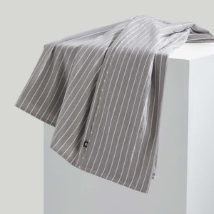 Leo Washed Cotton - Charcoal Wide Stripe
