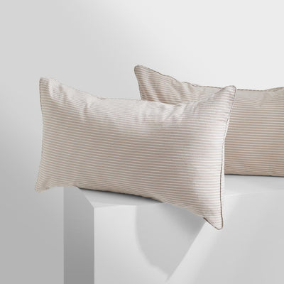 LEO Washed Cotton Pillowcases - Nude Stripe