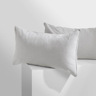 LEO Washed Cotton Pillowcases - Charcoal Thin Stripe