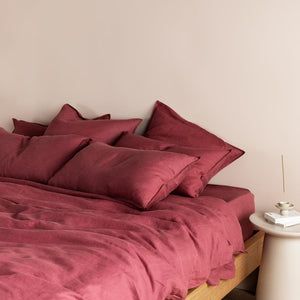 Eve Linen Pillowcases - Rose