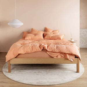 Eve Linen Flat Sheet - Papaya