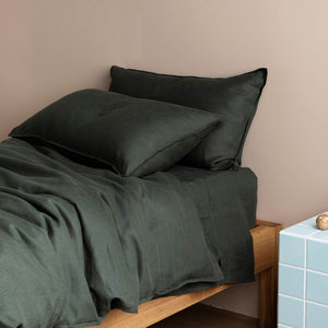 Linen Kids Bedding - Hunter Green