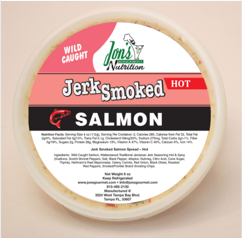 Jon's Gourmet Jerk Smoked Hot Salmon Spread