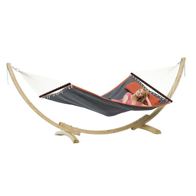 Quilted hammock and wooden stand with cushion