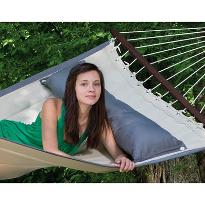 Quilted hammock and stand with cushion