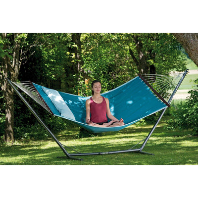 Quilted hammock and metal stand with cushion