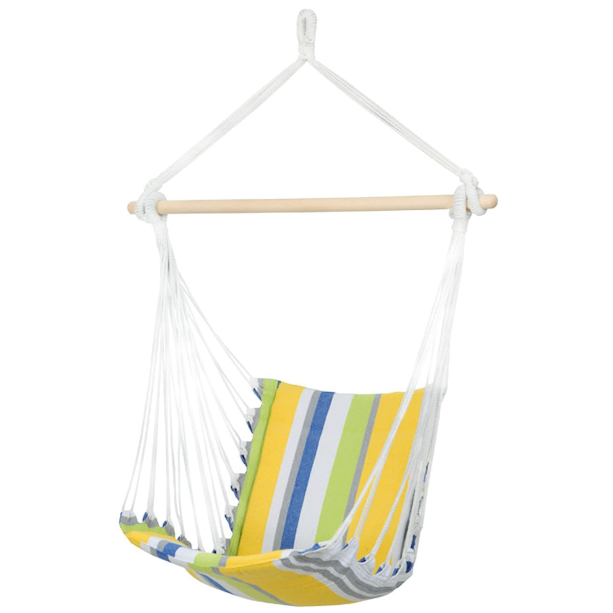 Padded hammock chair with wooden spreader bar