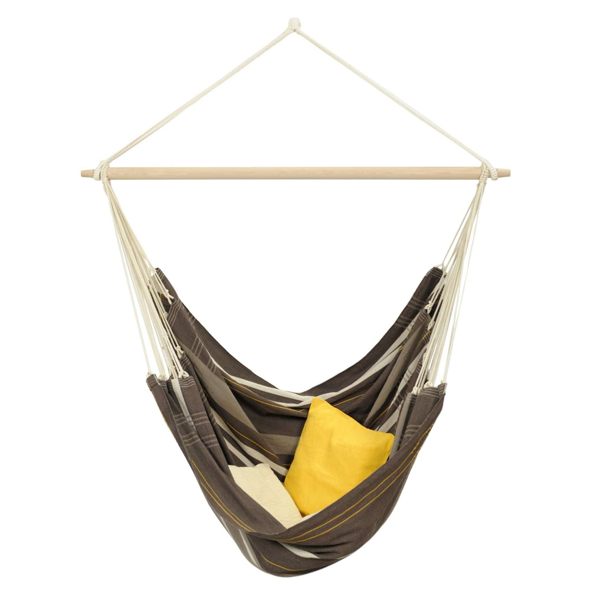 Large hammock chair with wooden spreader bar