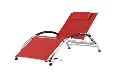 Vivere Outdoor Cherry Red Dockside Sun Lounger