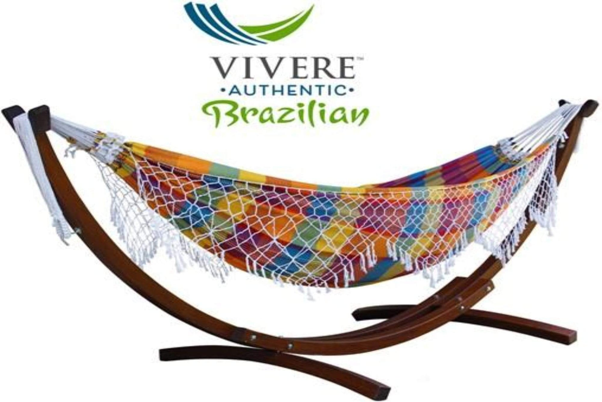 Vivere Sets Carnival Authentic Brazilian Hammock with 3m Solid Pine Arc Stand