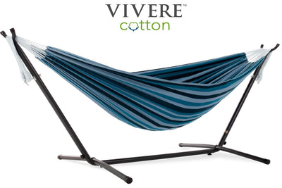 Vivere Sets Blue Lagoon Double Cotton Hammock with 2.5m Metal Stand