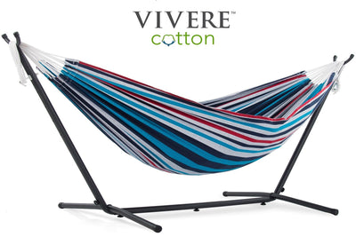 Vivere Sets Denim Double Cotton Hammock with 2.5m Metal Stand