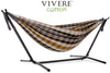 Vivere Sets Gold Coast Double Cotton Hammock with 2.5m Metal Stand