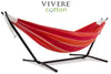 Vivere Sets Mimosa Double Cotton Hammock with 2.5m Metal Stand