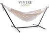 Vivere Sets Natural Double Cotton Hammock with 2.5m Metal Stand