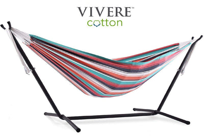 Vivere Sets Plumeria Double Cotton Hammock with 2.5m Metal Stand