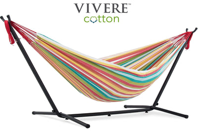 Vivere Sets Salsa Double Cotton Hammock with 2.5m Metal Stand