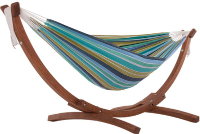 Vivere Sets Cayo Reef Double Cotton Hammock with 2.5m Solid Pine Arc Stand