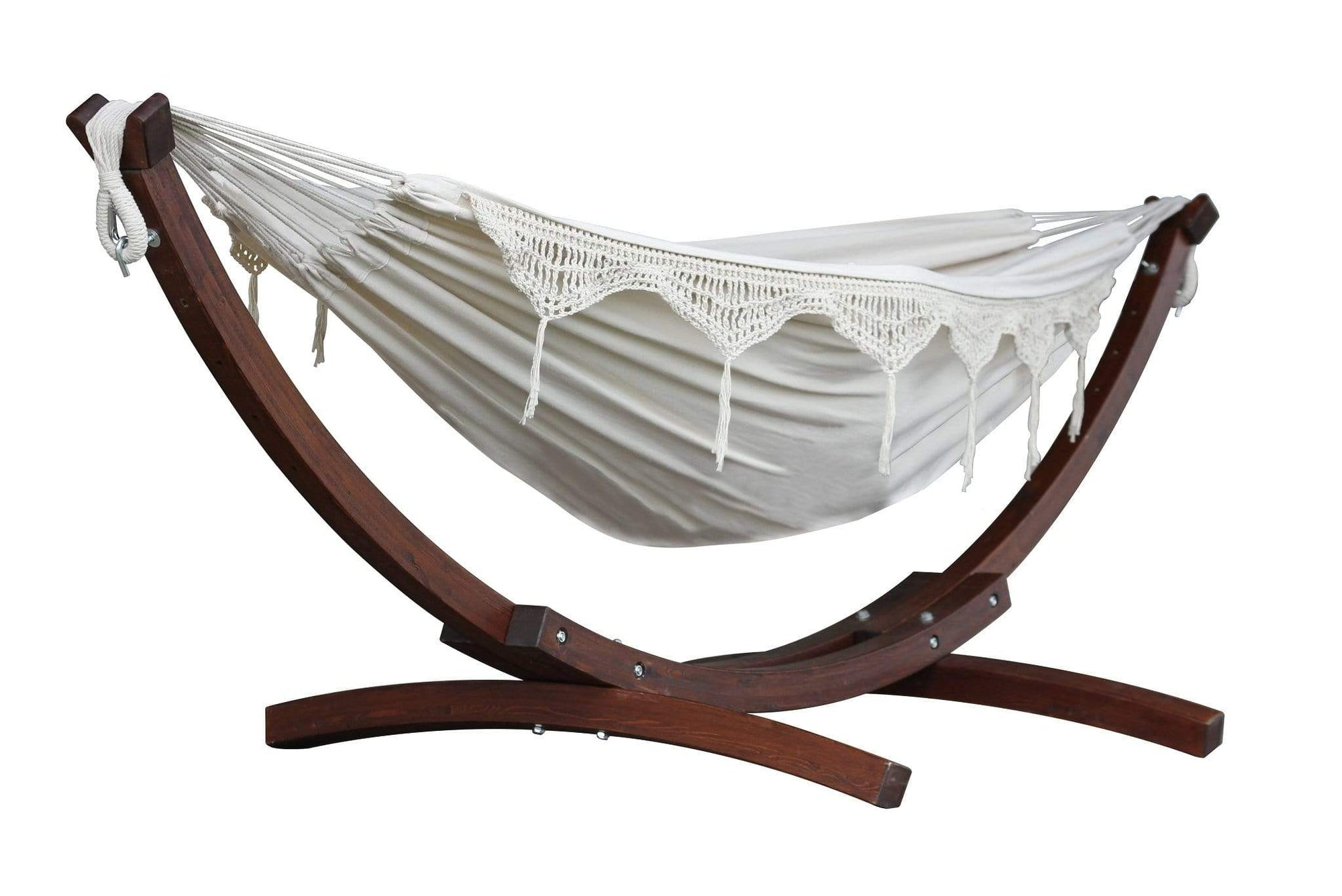 Vivere Sets Natural Double Cotton Hammock with 2.5m Solid Pine Arc Stand