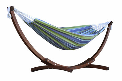 Vivere Sets Oasis Double Cotton Hammock with 2.5m Solid Pine Arc Stand