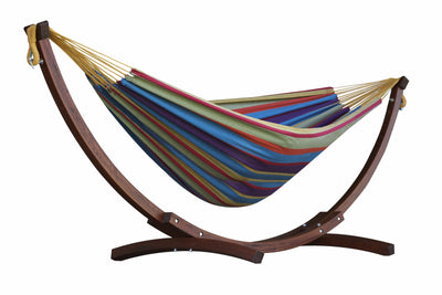 Vivere Sets Tropical Double Cotton Hammock with 2.5m Solid Pine Arc Stand